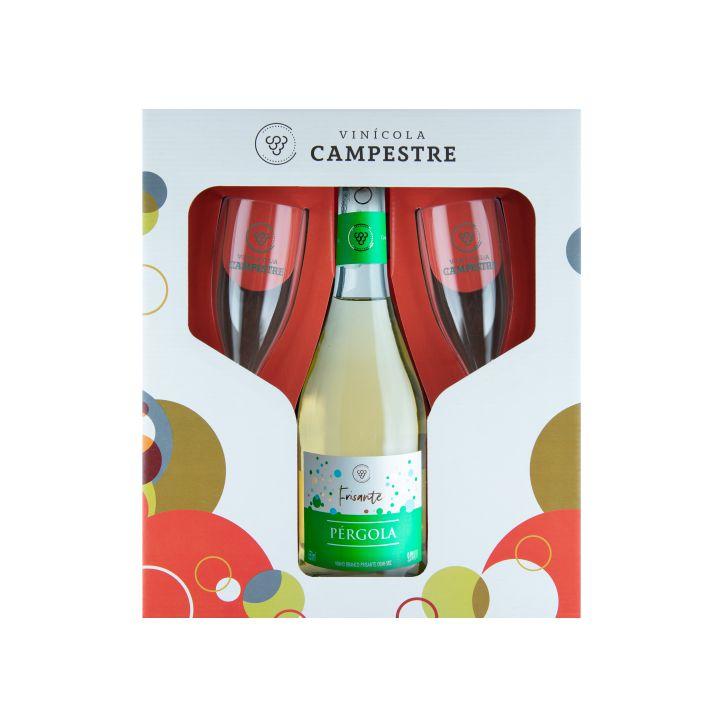 Kit Vinho Fino Branco Demi Sec Frisante Pérgola 650 ml